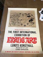 Vintage Erotic Art Expo 1968 Lund Konsthall Museum Sweden Sugimura Jihei Poster