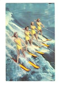 Florida Cypress Gardens, Colorful Aqua Maids, Postcard 3C-K109, Unposted, Skiing