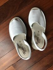 Trisoles White Leather Open Toe Slingback Tiggy Sandals Made in Spain Sz 36
