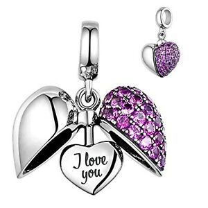 💖 I Love You Heart Genuine 925 Sterling Silver Bead Charm Mum Wife Daughter  💖