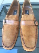 ITALIAN TAN SUEDE LOAFERS, SIZE 12, LEATHER STRAP AND METAL BUCKLE, WORN ONCE