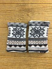 Womens Winter Fingerless Gloves Knit Mittens Cream Brown Snowflake Design