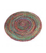Hogar y Más - Alfombra redonda  de diseño étnico colorido de mimbre y algodón na