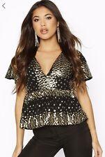 BNWT Boohoo Black Sequin Embellished Peplum Christmas Top Size 12🎄Ladies Gift