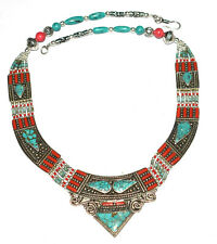 Nepali Tibetan Necklace Fine Jewelry Coral,Turquoise Gemstone