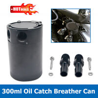 Universal Baffled 2-Port Oil Catch Can Tank Compact Auto Air-Oil Separator Black
