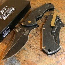 Masters Collection Spring Assisted Folding Knife SKULL Stone Wash Blade NEW