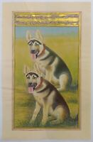 Hand Painted Dog Animal Miniature Painting India Art Nature German Shepherd Rare