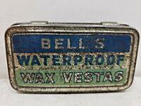 "VINTAGE ""BELLS WATERPROOF WAX VESTAS"" TIN / MATCH SAFE / CASE"
