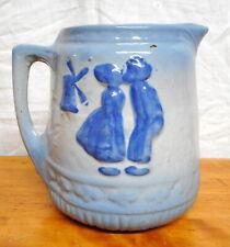 Antique Blue & White Stoneware Pitcher Dutch Motif