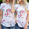 Fashion Womens Short Sleeve Floral Shirt Summer Blouse Casual Tops Loose T Shirt