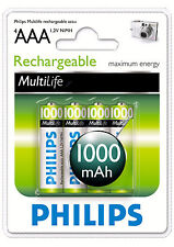 8 PK Philips 1000mAh NiMH Rechargeable AAA Batteries (4PK & 16PK also Available)