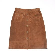 "Brown Leather GAP Straight Pencil Calf Length Button Front Skirt Size W31"" L25"""