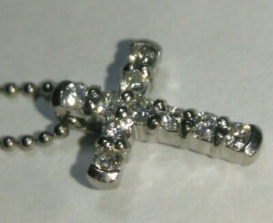 "Solid platinum diamond cross pendant and 1mm chain 3.63 grams - 15.5"""