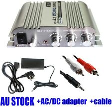 Hi-Fi 2.1CH Stereo Audio Amplifier Music AMP Super Bass with AC Power Adapter AU