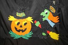 2 pc 1960's Vtg Melted Plastic Popcorn Halloween Witch on Broom Smiling Pumpkin
