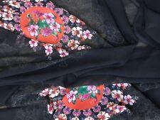 tissu voile noir tissé fleurs  DESIGUAL  aérien en 150 cm de large au mètre