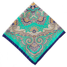 New $125 BATTISTI NAPOLI Turquoise Green Intricate Print Silk Pocket Square