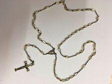 authentique chapelet années 30 perle en nacre croix et médaillon chaine argent