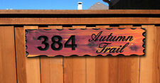 Custom Carved Wood Address Sign -Red Aromatic Cedar Rustic House Number Plaque