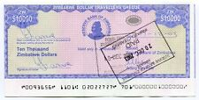 Zimbabwe Dollar Travellers Cheque $10 000 P17 Cutting Error extended border