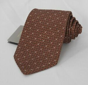 NEW TOM FORD Neck Tie SILK Light Brown & Black Zig Zag with Ivory Dots TFN117