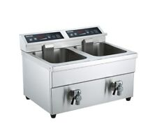 Gastrotek Twin x 8 ltr Induction Catering Fryer With Drain Taps. Free P&P.