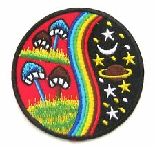 Mushroom Moon Stars Peace Iron On Patch- Hippy Badge Gift Embroidered Applique