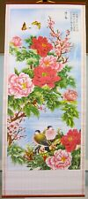 Chinese Oriental Dove Birds and Flowers Floral Wall Scroll Hanging