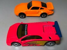 HOT WHEELS VINTAGE 1993 REVEALERS PINK LAMBORGHINI COUNTACH  & Orange Porsche