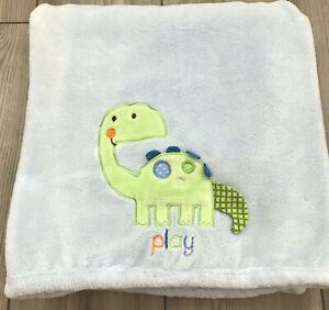 Carters Child of Mine Blue Baby Blanket Fleece Green Dinosaur Lovey