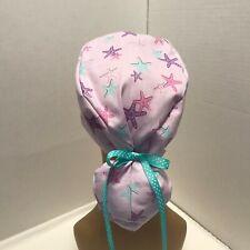 Ponytail Cap Scrub Hat - Starfish Print
