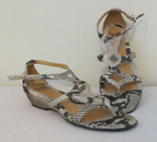 Sofft Women's Shoes Size 6.5 Beige Leather Strappy Wedge Sandals snakeskin