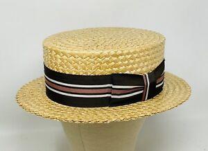 Vintage Tucker & Tucker Boater Skimmer Straw Hat ~ Size 7