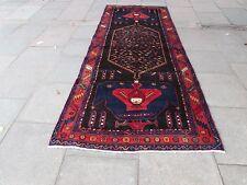 VECCHIO fatto a mano tradizionale persiano orientale Wide LUNGO RUNNER 380x147cm blu lana