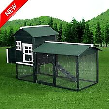PawHut 88 Chicken Coop Wooden Poultry Hutch Hen Nesting House Cage Box Backyard