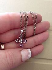 Sterling Silver & Amethyst Flower 🌺 Pendant Necklace 925