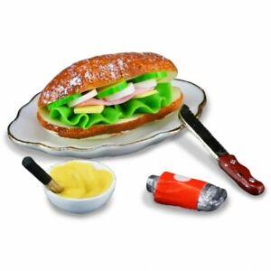 Dollhouse Miniature Reutter Porcelain Sub Sandwich  Knife & Condiments 1.710/5