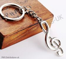 Music Note Treble Clef Keyring Metal Keychain  Violin Guitar Novelty Gift uk