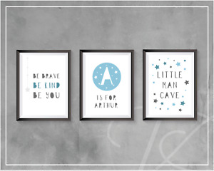 Nursery Prints Baby Boys Bedroom Decor Wall Art Pictures Stars Personalised A4