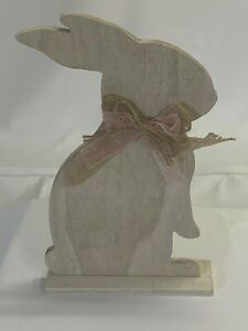MARTHA STEWART COLLECTION Standing Wooden Figure NWT Spring Bunny w/ Bow White