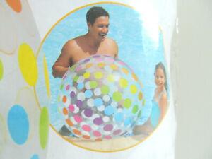 "Intex Jumbo Inflatable Glossy Big Polka Dot Colorful Giant Beach Ball 42"" G"