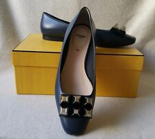 Fendi 38.5 Pyramid Stud Ballerina ballet Flats loafer skimmer Blue Leather Shoe