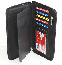 Black 100% Leather Men Lady Holder Id Card Checkbook Cover Wallet Zip Around