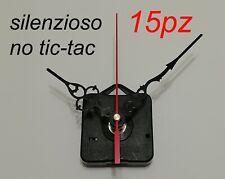 15pz MECCANISMI OROLOGIO SILENZIOSO parete muro quarzo continuo meccanismo clock
