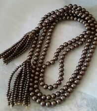 """Vintage Rare 187 Glass Cocoa Faux Pearls Flapper Lariat Tassels 3ft 7"""" Necklace"""