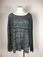 EILEEN FISHER Marled Black white Organic Fabric Pullover Tunic Sweater M