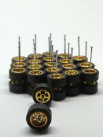 Hot Wheels 5 Star Gold Long Axle 10 mm fit 1:64 Rubber Tires 10 Sets