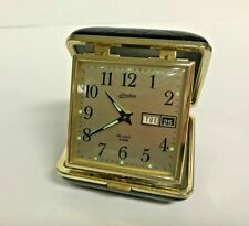 Vintage Linden Wind Up Day & Date Travel Alarm Clock in Black Case JAPAN