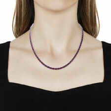 Superb 49.18ct African Ruby and White Zircon 925 Silver Tennis Necklace. 18 inch